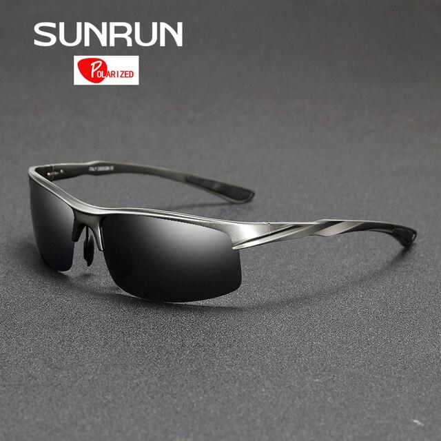 SUNRUN Men Driving Sunglasses Aluminum Frame Polarized Sunglasses Car Drivers Night Vision Goggles Anti-glare Sun Glasses P8213