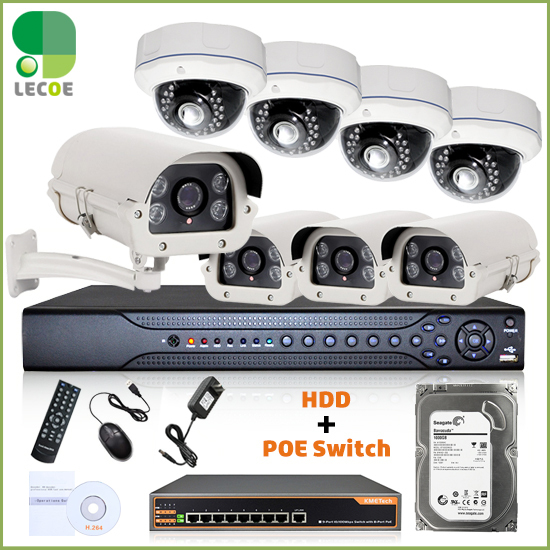 16CH 1080P 2 SATA NVR 8pcs 960P POE Cameras 8ch PoE Switch CCTV Security POE KIT POE System with 2TB HDD