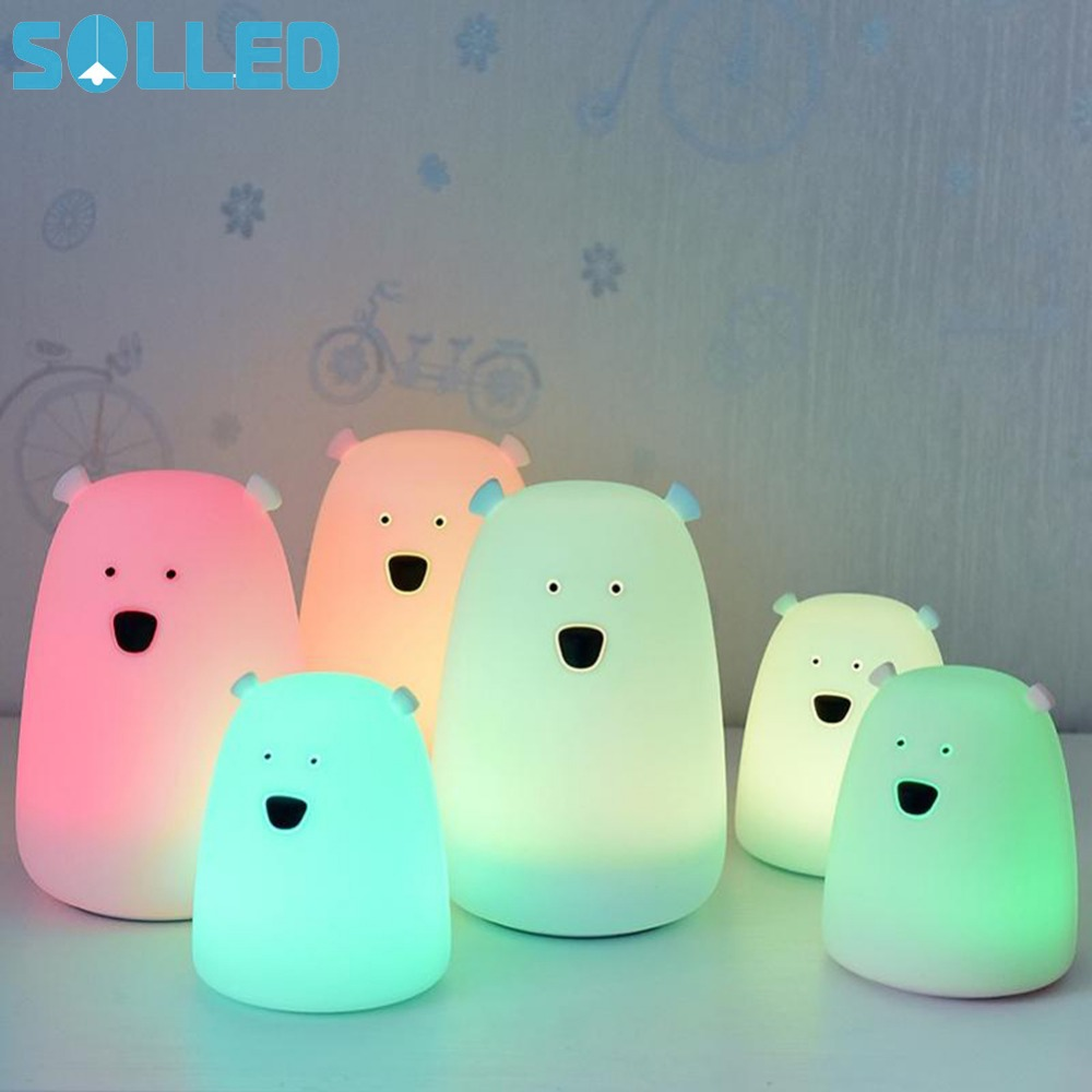 SOLLED Colorful Bear Silicone LED Night Light Kids Touch Sensor light Children Cute Night Lamp Bedroom Baby Nursery Light cute 3d rilakkuma bear jelly silicone cover for ipod touch 6 touch 5 red