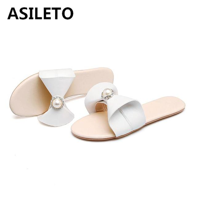 ASILET New 2018 women flip flops Beach sandals fashion Bling Pearl slippers  summer women flat shoes woman slides footwear S398 4d2ab0f8f9cb