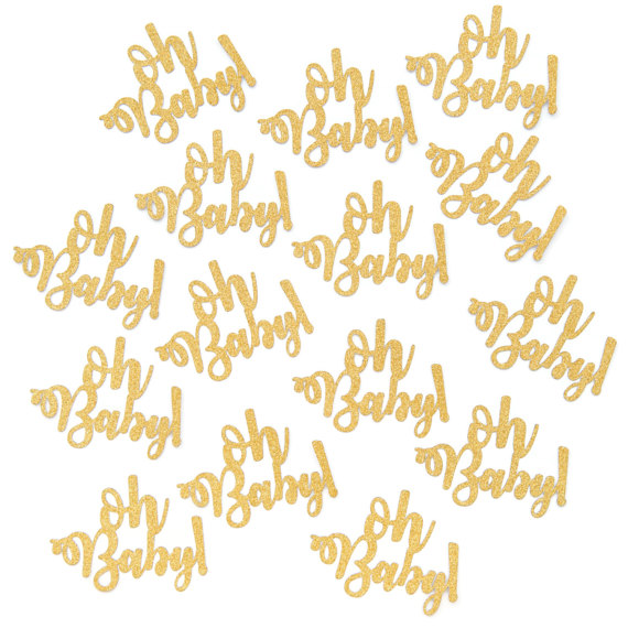 Oh Baby Confetti,Glitter Gold Confetti, Baby Shower Table Scatter, Party  Confetti, Oh Baby Decoration, Gender Reveal Die Cut In Banners, ...