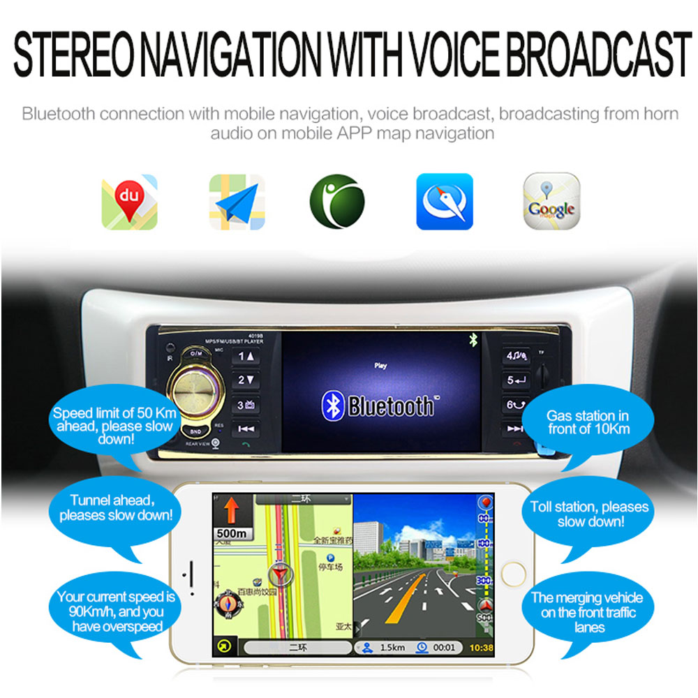 amprime car radio 1 din autoradio 4 1 inch car audio stereo radiosamprime car radio 1 din autoradio 4 1 inch car audio stereo radios fm mp5 player support rear view camera remote control 4019b in car radios from