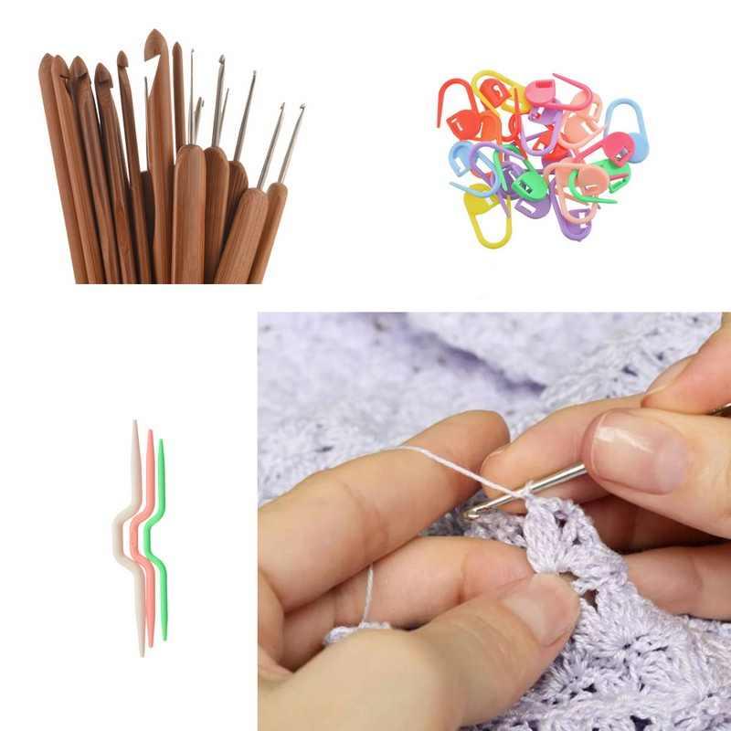 Bricolage Crochet crochets aiguilles points à tricoter artisanat CaseCrochet ensemble avec étui laine feutre fait main Crochet kit d'outils