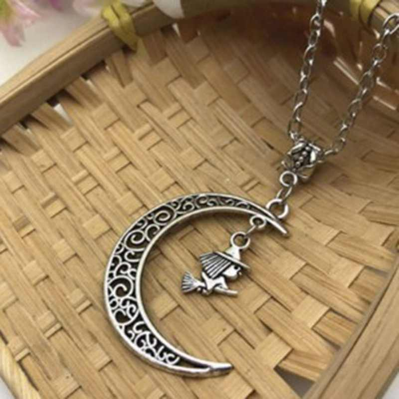 Flying Witch In Moon Necklace Witch & Moon Pendant Wiccan Jewellery Halloween