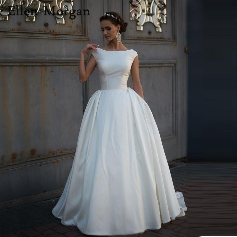 Simple Satin Wedding Dresses 2019 Cheap Boat Neck Court