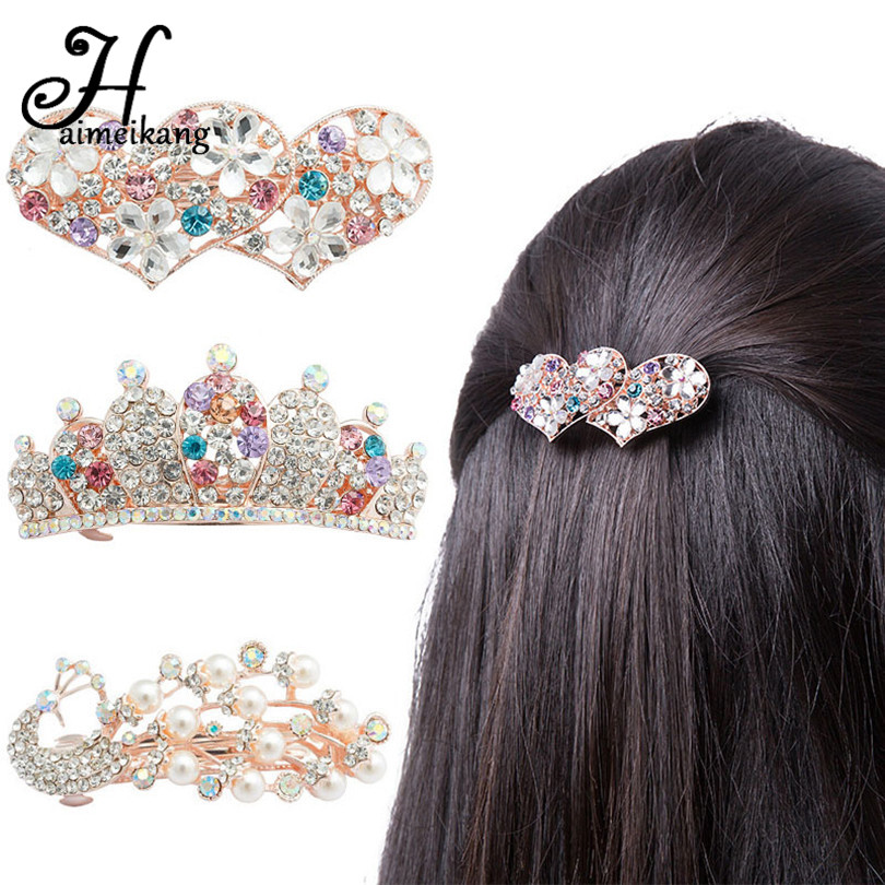Haimeikang Fashion Women Rhinestone Hair Clip for Women Heart Bow Peacock Pearl Barrettes Hairpin Crown Hair Accessories halloween party zombie skull skeleton hand bone claw hairpin punk hair clip for women girl hair accessories headwear 1 pcs