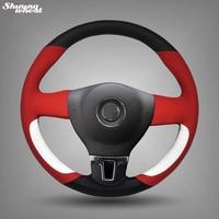 BANNIS Red Black White Leather Car Steering Wheel Cover for Volkswagen VW Tiguan Lavida Passat B7 Jetta Mk6
