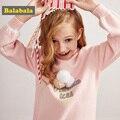 Balabala/свитер для девочек хлопковая одежда Детский весенний хлопковый удобный свитер с длинными рукавами Детский Повседневный пуловер Модны...