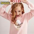 Balabala maglione delle ragazze del cotone Dei vestiti Dei Bambini primavera cotone A Maniche Lunghe confortevole Bambini maglione casual Pullover di modo delle parti superiori
