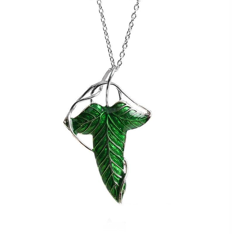 Qiao לה אופנה ההוביט בציר Elf ירוק עלה תליון פין שר אחד טבעות מו נשים גברים תכשיטים