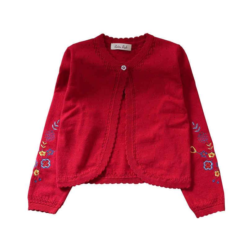 Детский кардиган для девочек, свитер детская красная куртка с длинными рукавами пальто для девочек Одежда для детей 1, 2, 3, 4, 6, 8, 10, 11 лет RKC185002