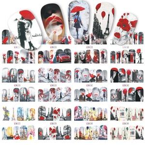 Image 2 - 12 diseños de calcomanías para manicura, pegatinas adhesivas de pareja/Flor de Arce, búho, joyería deslizante, arte de uñas, calcomanías de transferencia de agua para envolturas de uñas