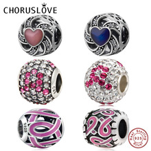 Choruslove Pink Ribbon Charm 925 Sterling Silver Breast Cancer Awareness Bead fit Pandora Charms Love Bracelet Jewelry Making
