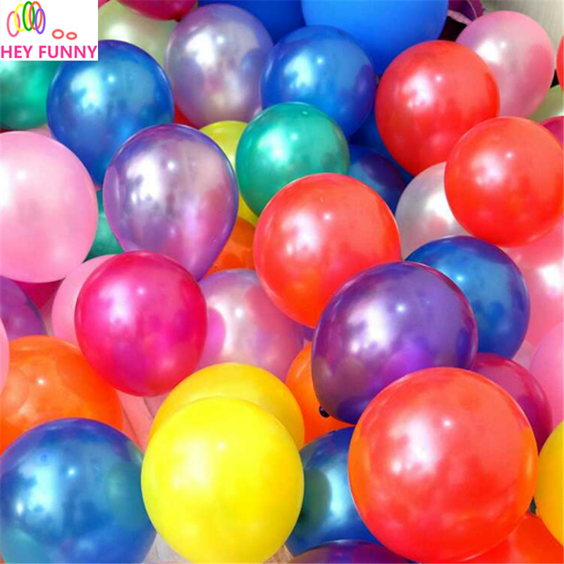 HEY FUNNY 100pcs/pack 10 inch 1.5g Latex balloon Helium Round balloons Thick Pearl balloons Wedding Party Birthday Balloons Free
