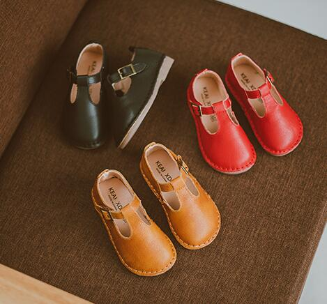 2018 high quality Genuine Leather Children Casual shoes baby Girls shoes Flat Princess T-bar mary jane shoes size 21-30