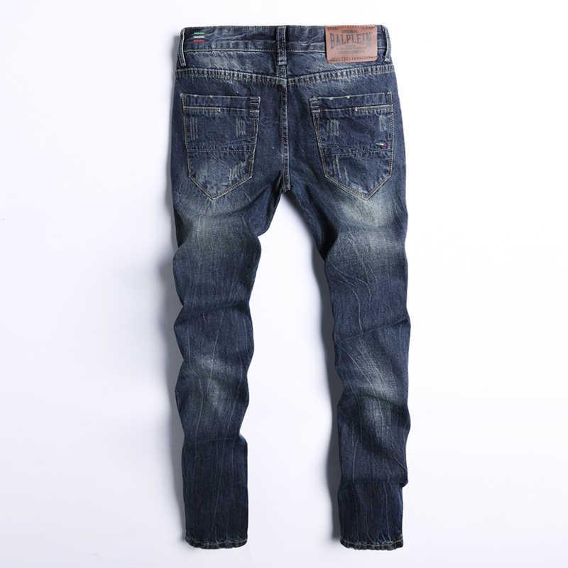 Модные Классические мужские джинсы темно-синего цвета Прямой крой 100% хлопок рваные джинсы для мужчин джинсовые брюки винтажные брендовые джинсы homme