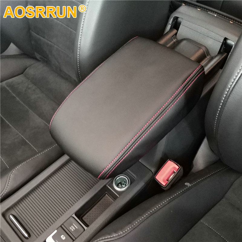 AOSRRUN PU leather Car Armrest Box Cover Car Accessories For VW Volkswagen Golf 7 MK7 2013-2017 for volkswagen vw golf 7 mk7 2013 2014 2015 stainless steel car speaker cover door bottom audio sound frame case accessories