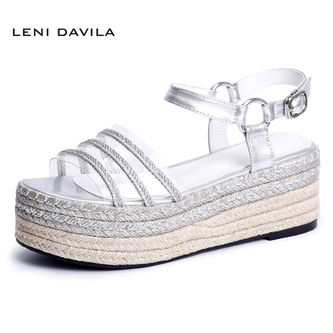 LENI DAVILA 2017 Women's fashion lady's Sexy sandals (Gold, silver) Wedges platform casual Full Grain Leather shoes for women phyanic 2017 gladiator sandals gold silver shoes woman summer platform wedges glitters creepers casual women shoes phy3323