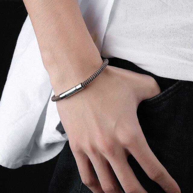 Модный мужской браслет из искусственной кожи и нержавеющей стали