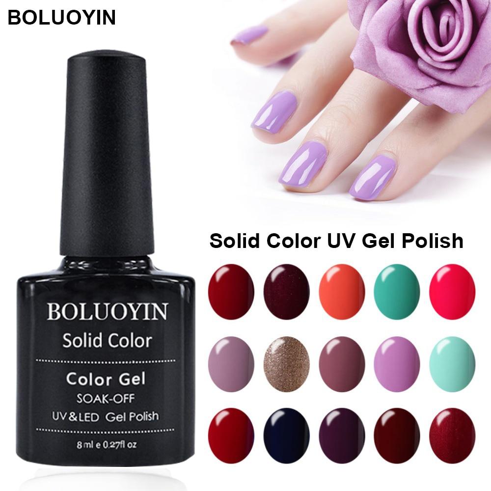 BOLUOYIN 29 Colors Gel Nail Polish Glitter LED UV Varnish Art Soak Off Lacquer Pink 8ml