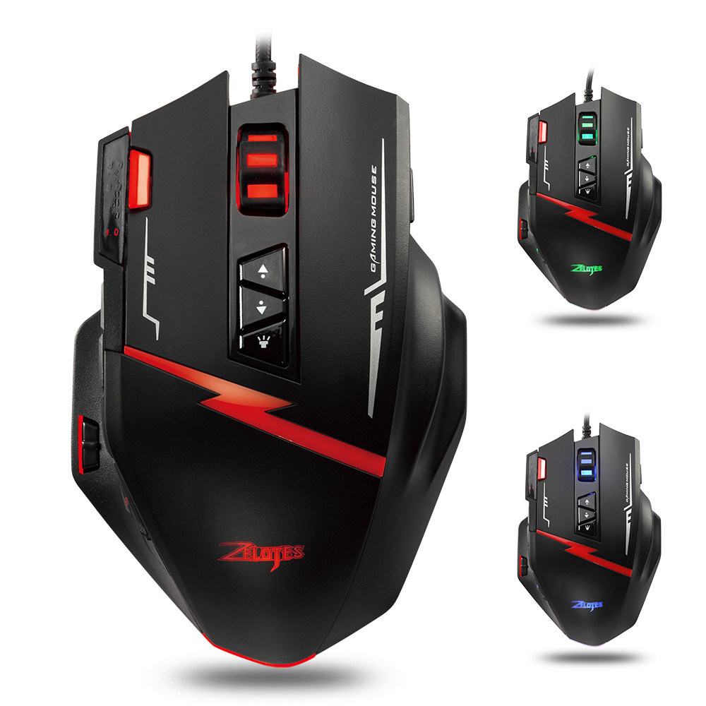 ZELOTES C15 Gaming Mouse 7000 DPI 13 Programmable Buttons Weight Tuning Cartri Computer Mouse Gamer Mice For Laptop 0208#3