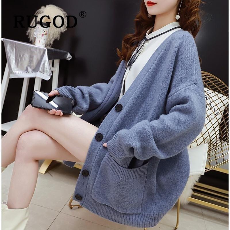 RUGOD Korean chic kniteed Cardigan for women Fashion single-breasted oversized female auturm sweater plus size coat 2019