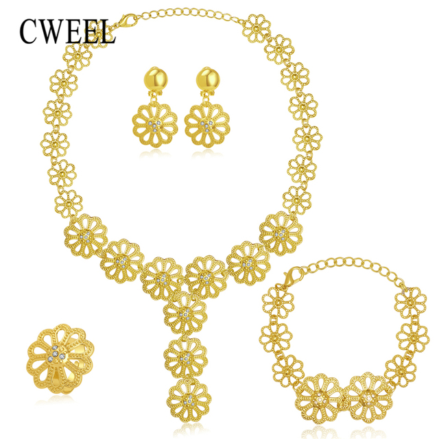 CWEEL Jewelry Sets Women African Beads Jewelry Set Classic Gold Color Dubai Jewe