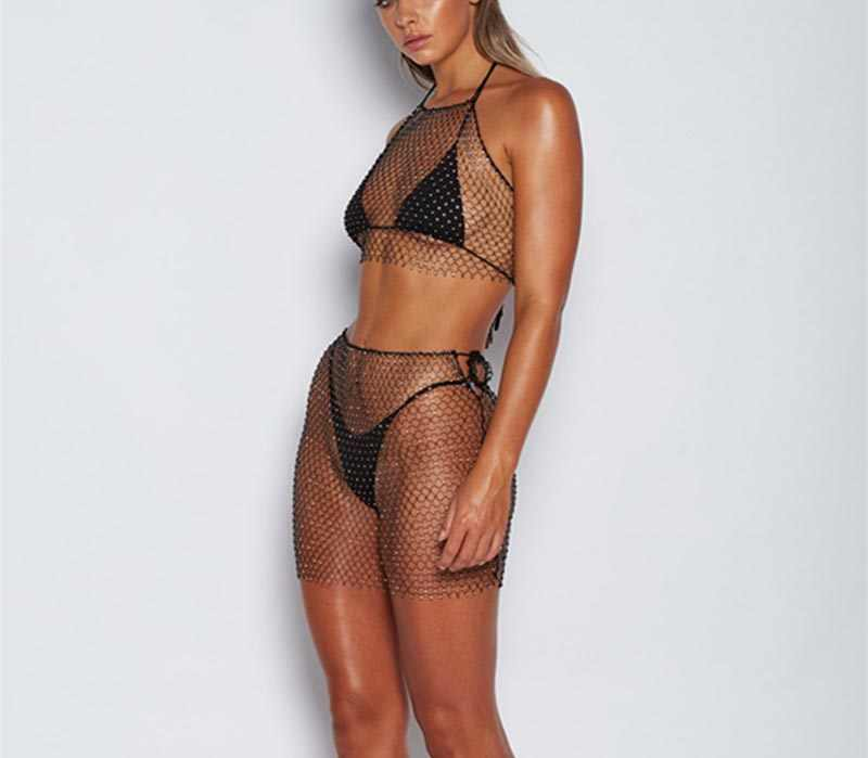 f271ce74d07 ... Beyprern Sparkly Crystal Diamonds Skirt Set Beach Cover Ups Luxury  Sequins Fishnet Cropped Top Skirt Suits ...