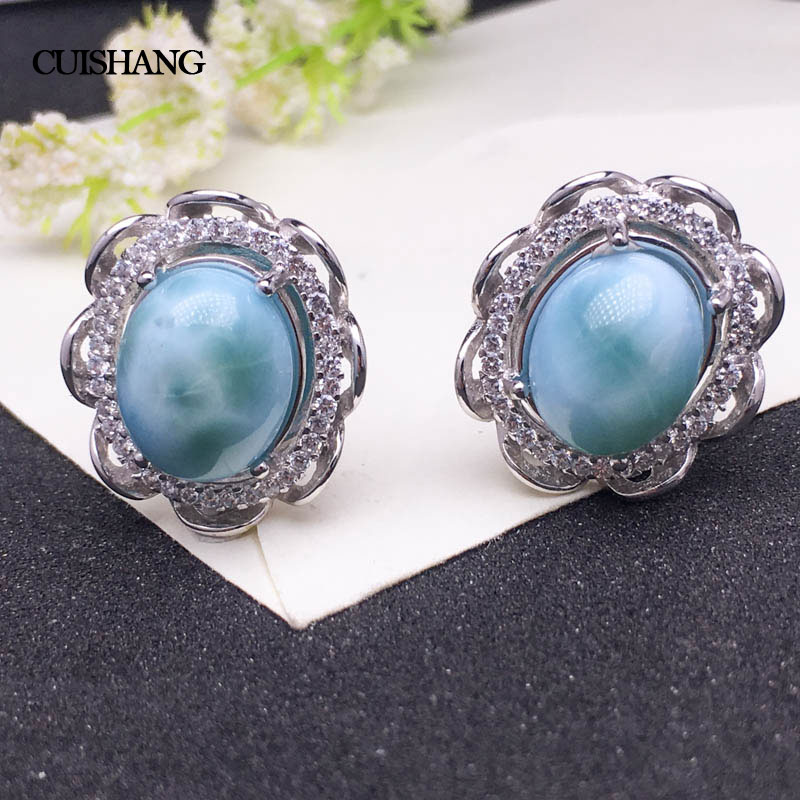 CSJ Natural Blue Larimar Earring Sterling 925 Silver for Women Ladies Girls Wedding Engagement Party Gift