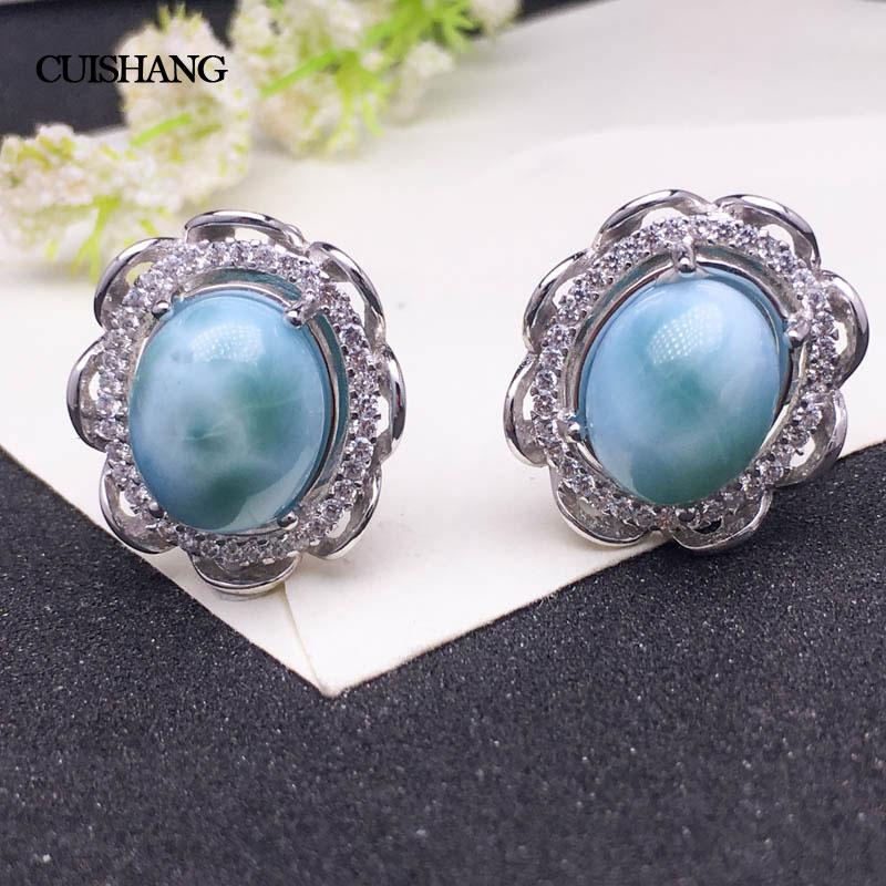 925 Solid Sterling Silver Natural Blue Larimar Hook Earring