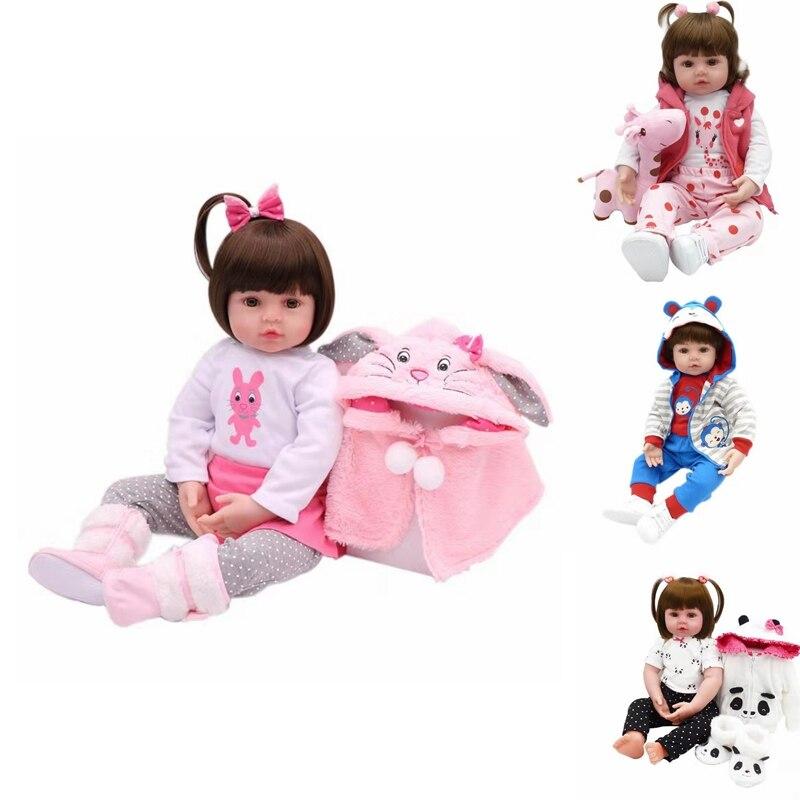 47cm Full Silicone Body Reborn Baby Doll Toy For Girl Vinyl Newborn Princess Toy Christmas/Birthday Gift