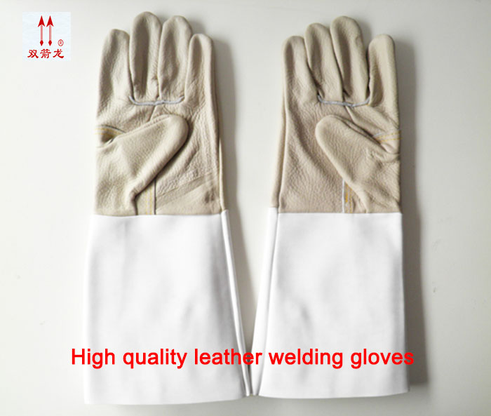 B grade leather Welding gas cutting gloves resistant insulation gloves leather maintenance of fire protection welding gloves outdoor research silencer fire resistant gloves