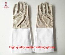 B-класса кожа Сварки газовой резки перчатки стойкие перчатки изоляции уход за кожей противопожарной защиты сварочные перчатки
