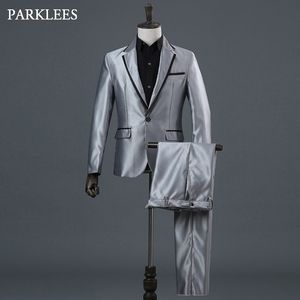 Image 1 - Classic 3 Pieces Suit (Jackets+Pants+Bow Tie) Men Stage Prom Party Mens Gray Dress Suits Singer Wedding DJ Costumes Ternos Homme