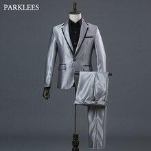 Klasik 3 parça takım elbise (ceket + pantolon + papyon) erkekler sahne balo parti erkek gri elbise takım elbise şarkıcı düğün DJ kostümleri Ternos Homme