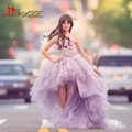 2017 Glitz Hi-Lo Girl Pageant Dresses for Teens 3D Floral Appliques Flowers Purple Ball Gown Junior Birthday Party Pageant Dress