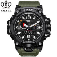 SMAEL Men Military Sport Watch 50M Waterproof LED Quartz Wristwatch S Shock Digital Watches Men Relogios