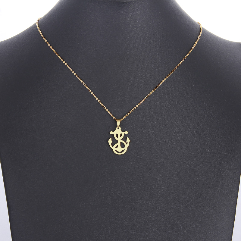 Stainless Steel Necklace For Women Man Lovers Winding Anchor Gold And Silver Color Pendant Necklace Engagement Jewelry