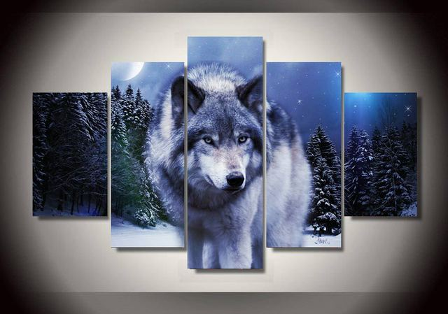 Canvas Painting Art Animals Snow Wolf Moon Group Picture For Kids Room Decor Print Poster