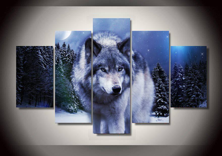 Leinwand gemälde kunst tiere schnee Wolf mond gruppe malerei bild ...