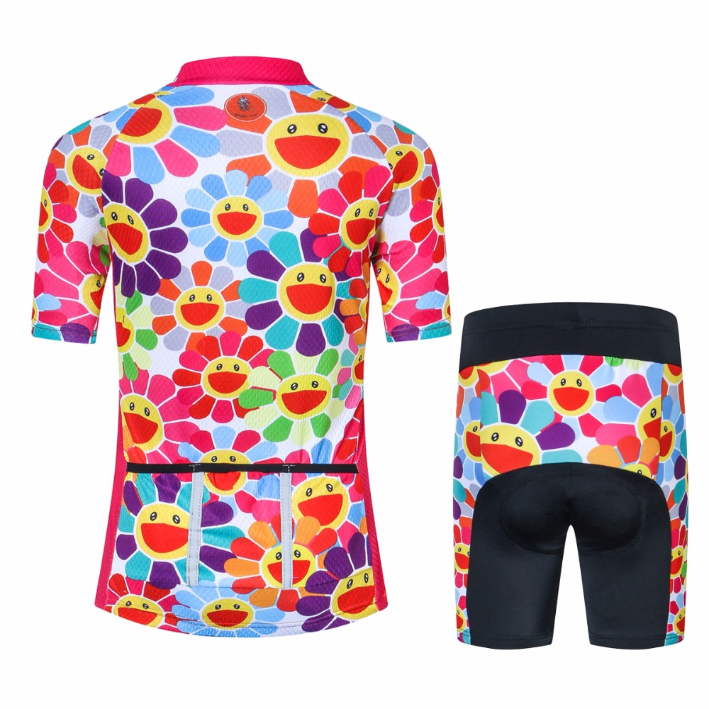 Weimostar Cycling Jersey Colorful Boy Girl Clothing Big Smile Kid Bike  Jersey and Shorts Set Children BOYS-in Cycling Sets from Sports    Entertainment on ... 8465c374f