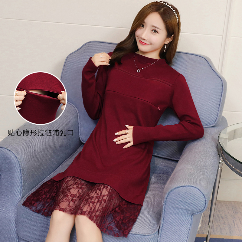 Wholesale 2019 winter maternity breastfeeding clothes fashion postpartum women Knitted nursing sweater dress lactation pullovers