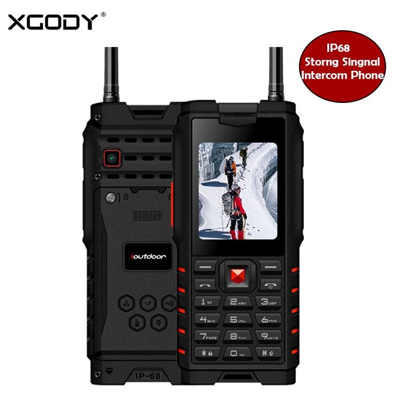 XGODY ioutdoor T2 ip68 teléfono móvil 2,4 pulgadas robusto función teléfonos 2G walkie-talkie intercom 4500 mAh ruso idioma del teclado