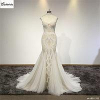 Romantic Long Pearls Wedding Dress Backless Long Sleeve Court Train Mermaid Wedding Dresses Gowns Vestido De