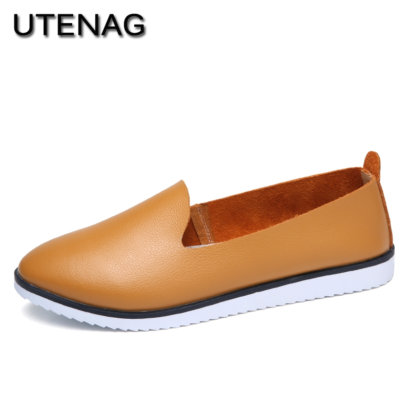 New 2018 Woman Sneakers PU Leather Flat Shoes Summer Slip-On Round Toe College Casual Fashion Simple Ladies Soft Lazy Loafers de la chance women flat shoes new autumn slip on student casual shoes solid pu ladies loafers shoes soft nurse shoes white blue