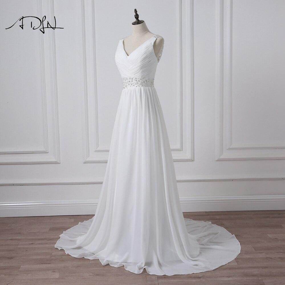 V-Neck Sleeveless Long Pleat Crystals Beaded Chiffon A-Line Wedding Dress 3