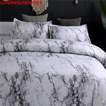 LOVINSUNSHINE Juego de ropa de cama de mármol, funda de edredón de doble reina, edredón, juegos de cama King AB01 #
