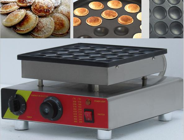Free Shipping 25 pcs Commercial Use Non stick 110v 220v Electric Mini Dutch Pancakes Poffertjes Baker Maker Iron Machine