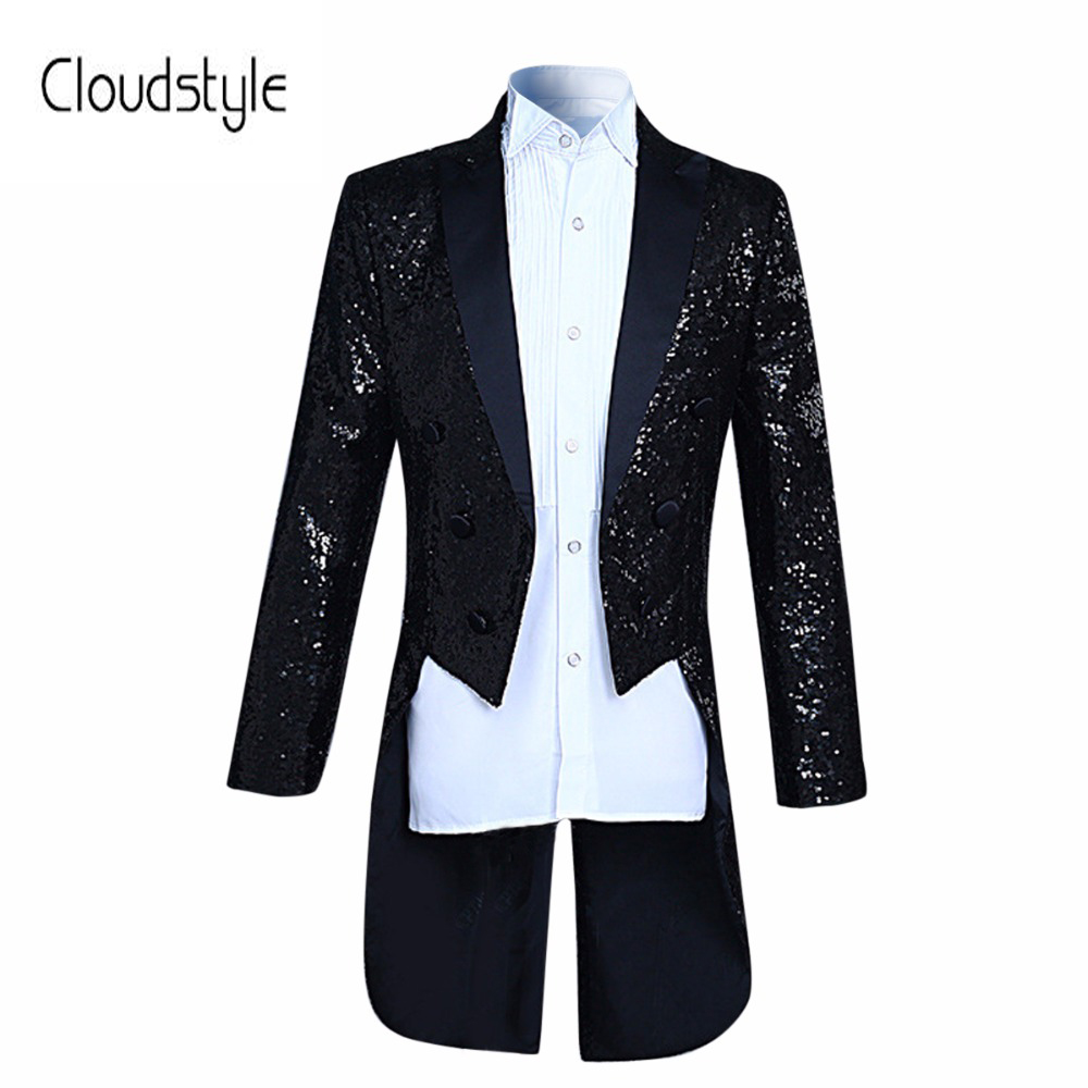 Nouvelle Arrivée De Mode paillettes Conception Stade Costume Veste Hommes Cloudstyl 2018 Mode Smoking Casual Slim Fit Drame costume Masculin Blazer