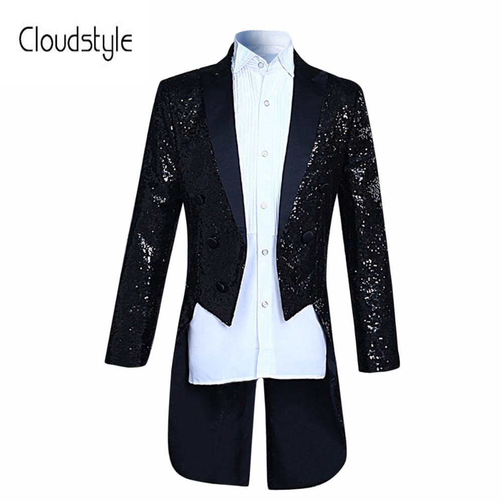 Nouvelle Arrivée De Mode paillettes Conception Stade Costume Veste Hommes Cloudstyl 2018 Mode Smoking Casual Slim Fit Drame costume Masculin Blazer